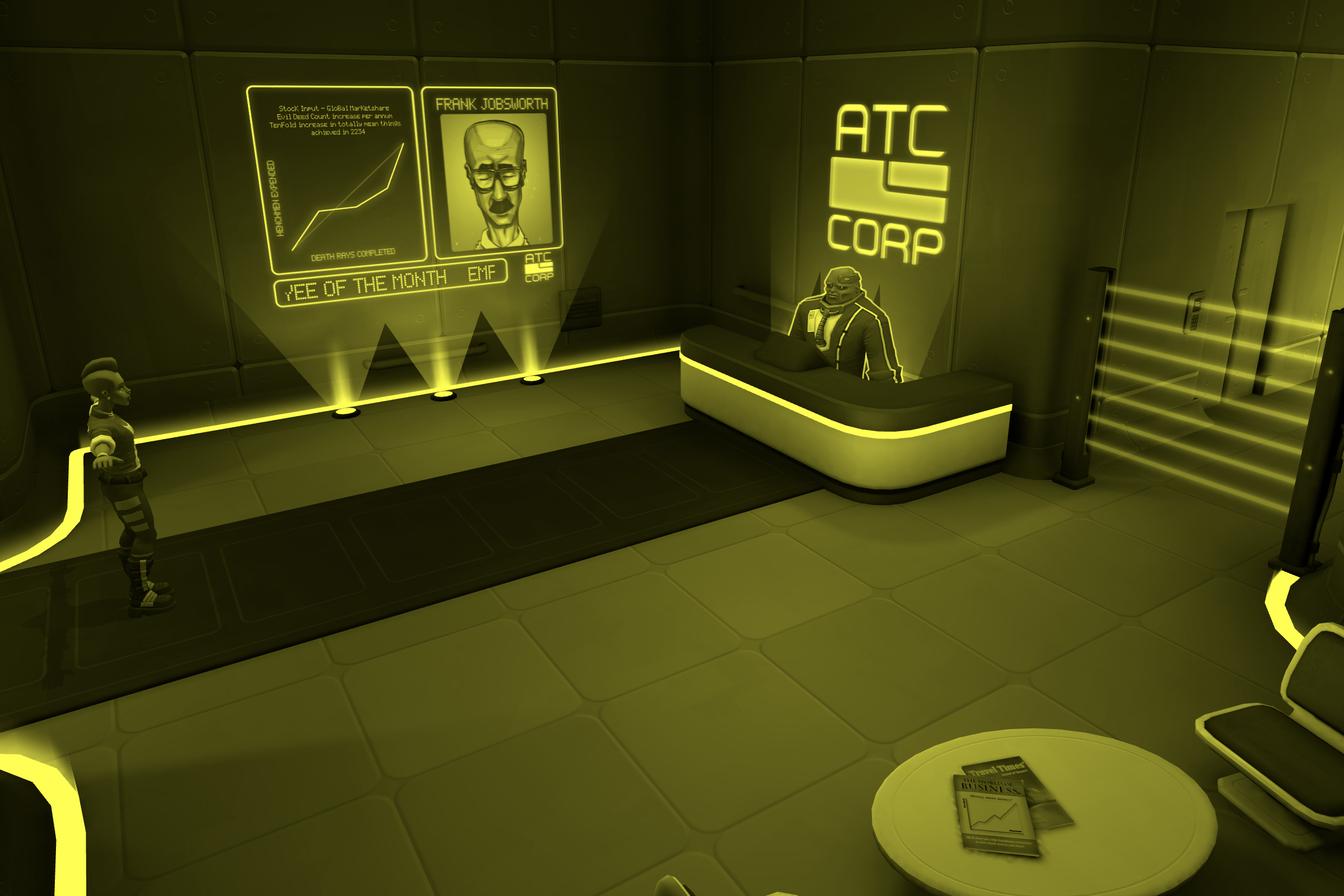 Amber-Monochrome-filtered screenshot of a scene from the Adventure Sample Game project