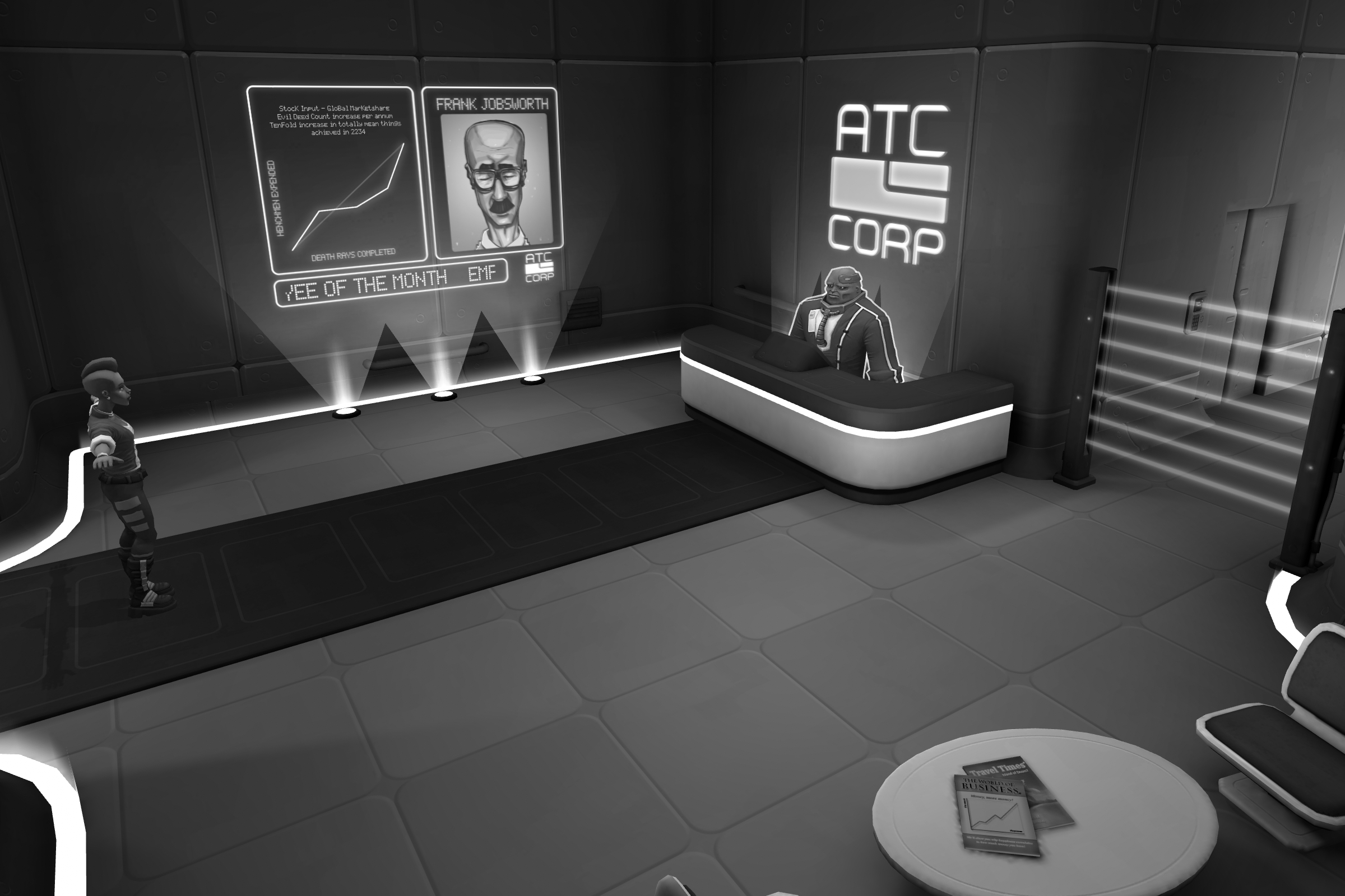 Grayscale-filtered screenshot of a scene from the Adventure Sample Game project